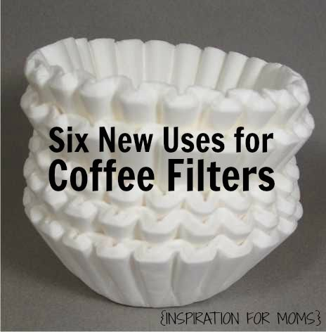 6 New Uses for Coffee Filters: 1. Filter broken cork out of wine 2. Lint free/streak free windows 3. Flower pot liner 4. disposable bowl for snacks 5. Prevent scratches on stacked glassware 6. Cover bowls & plates in microwave