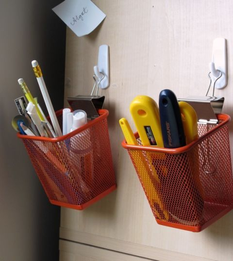 Wisely use vertical space by lifting pencil cups up off your desk with just a hook and a clip. See more at The Quilt Show »