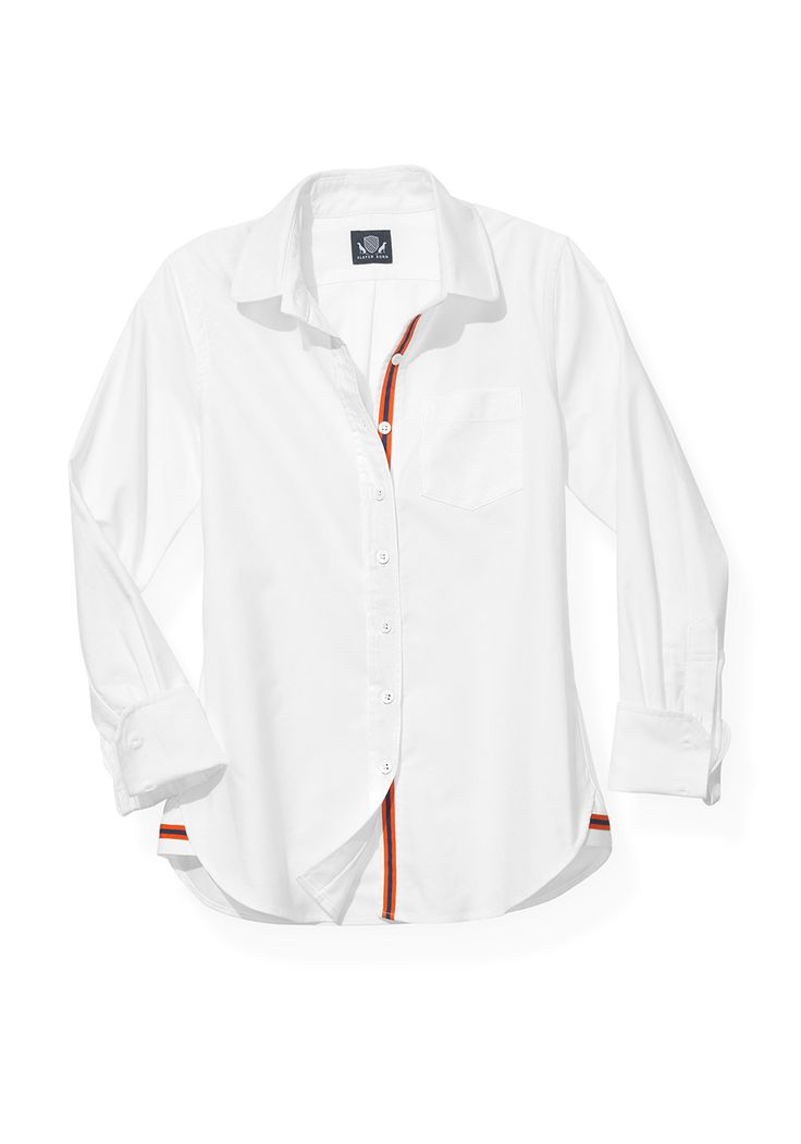 Want a game-day option that's a little more elegant than face painting and a foam finger? Try this beautifully tailored cotton oxford button-down with a discreet grosgrain ribbon, which comes in five color combinations.