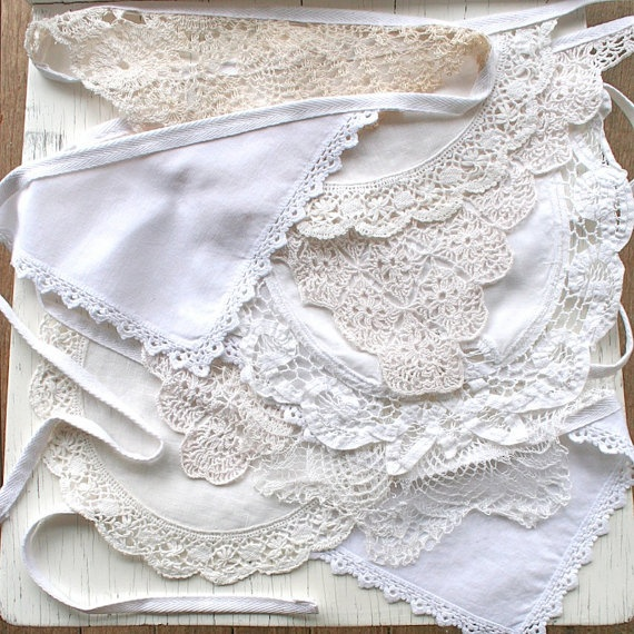 White & Sepia- Vintage Wedding Bunting / Rustic Chic / Ivory Wedding / Doily Bunting / Heirloom Garland