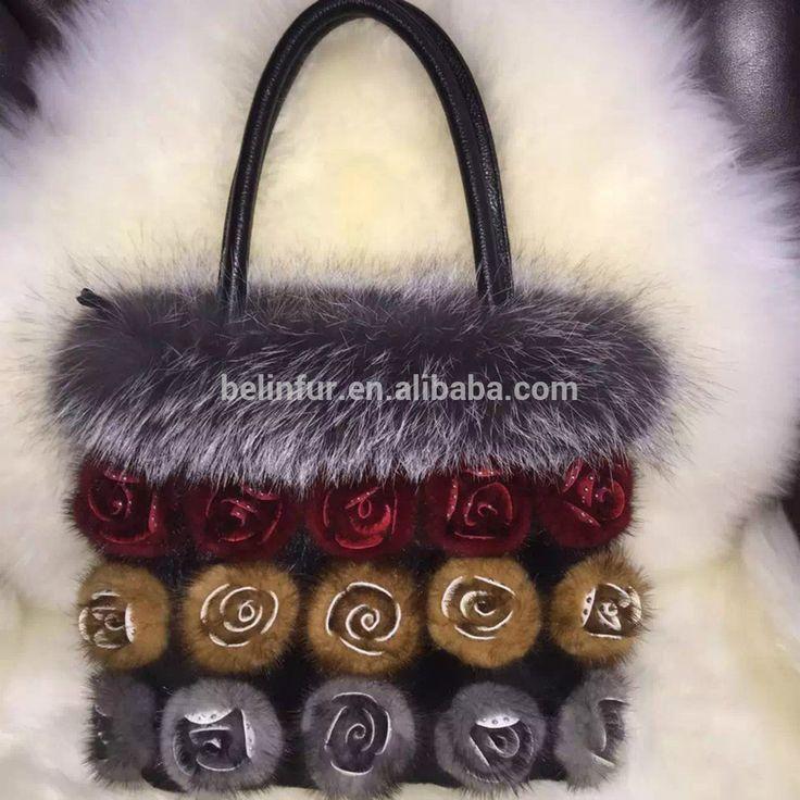Fashion fox fur women handbag with fur flower/wholesale and retail