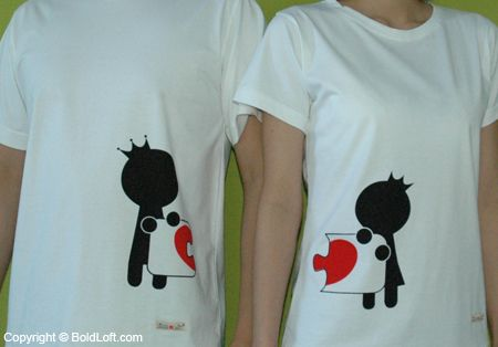 """They're the perfect gift for lovers whose hearts are a perfect fit. Perfect Valentine's Day gifts for girlfriend or wife. """"Complete My Heart"""" Couple T-Shirts. $42.00 via BoldLoft."""