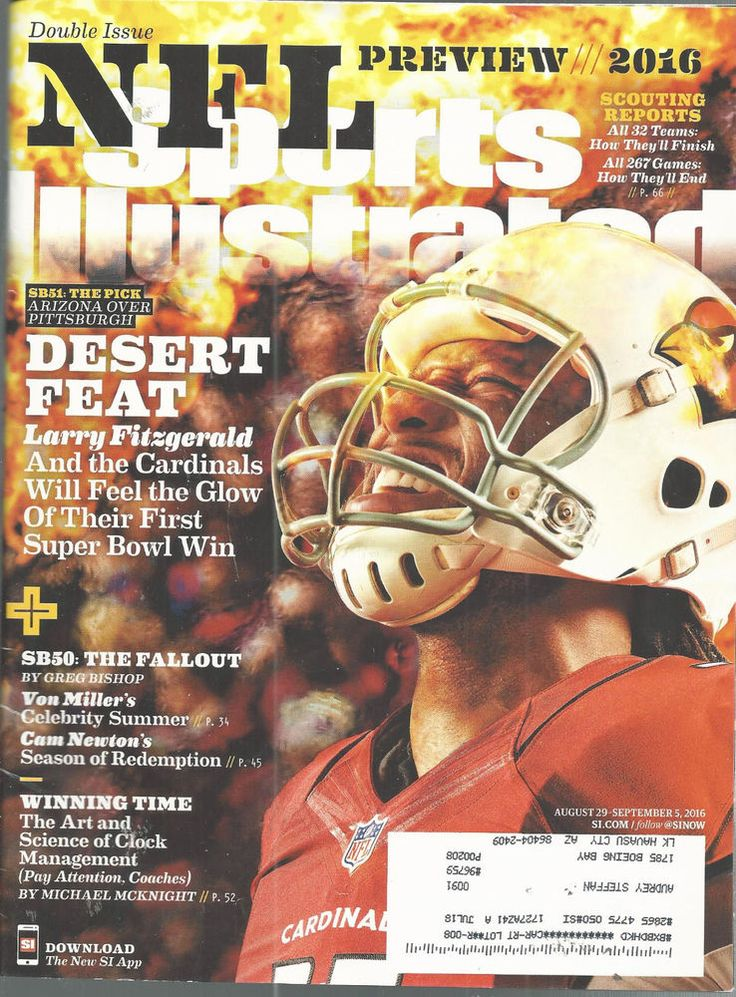 Larry Fitzgerald Arizona Cardinals Football Sports Illustra  Mag Peyton Manning  #doesnotapply
