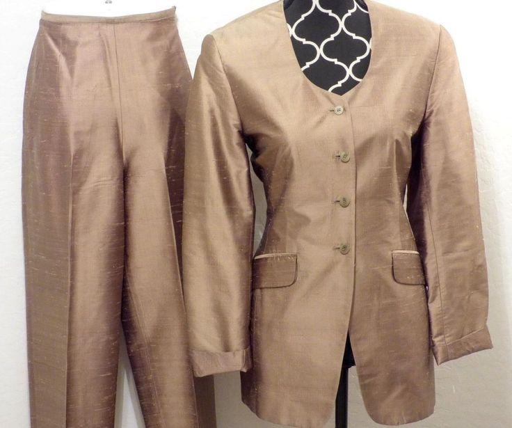 THE LIMITED Metallic Silk Evening Pant Suit 6 S Tunic Jacket Hi-Waist Taper Pant #Limited #PantSuit
