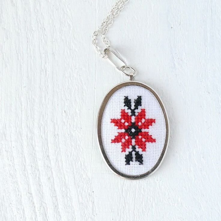 Cross stitch necklace Ukrainian red and black embroidery