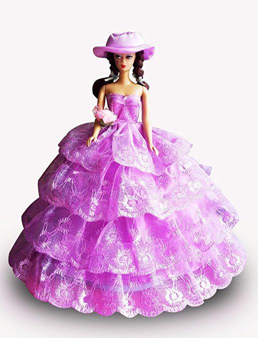 WayIn® Splendido mano il vestito da partito con pizzo fatta su misura per la bambola di Barbie Viola