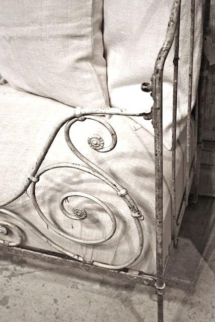 antique white iron French 'lit de bébé' cum settee/daybed