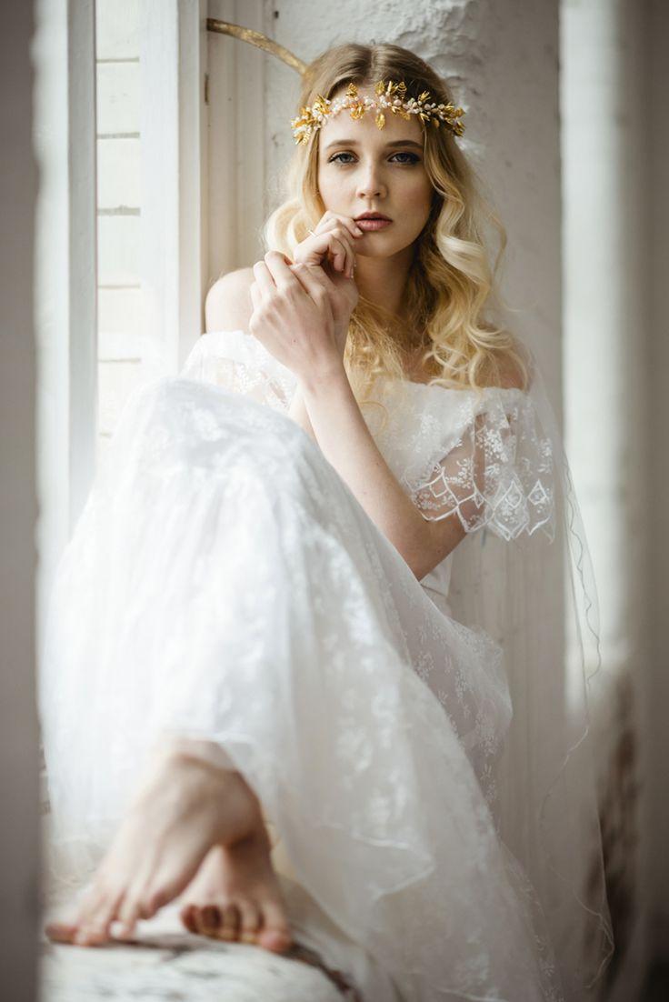 off the shoulder vintage wedding dress - boho vintage bridal ireland