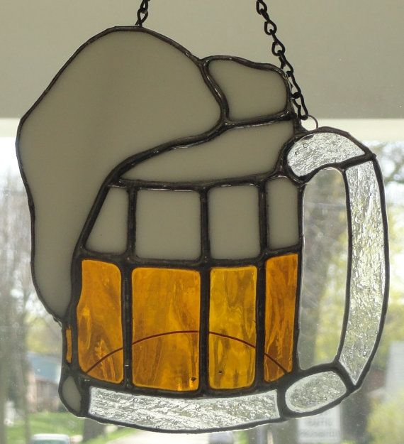 stained glass beer mug suncatchers by mimasattic on etsy