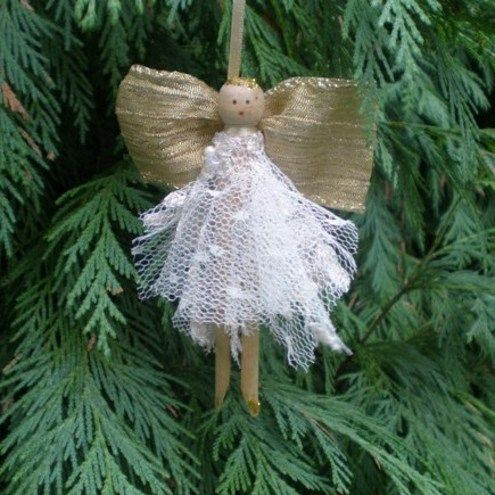 Folksy angel peg doll