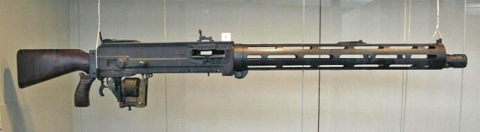 The Parabellum MG14 was a 7.9 mm caliber World War I machine gun built by Deutsche Waffen und Munitionsfabriken. It was a complete redesign of the Maschinengewehr 08 machine gun (itself an adaptation of the Maxim gun) system intended for use on aircraft and zeppelins that used a toggle action that broke upwards rather than downwards opposite the MG 08, making for a much more compact receiver. The fusee spring was dispensed with for an internal spring design, the breech block was completely…
