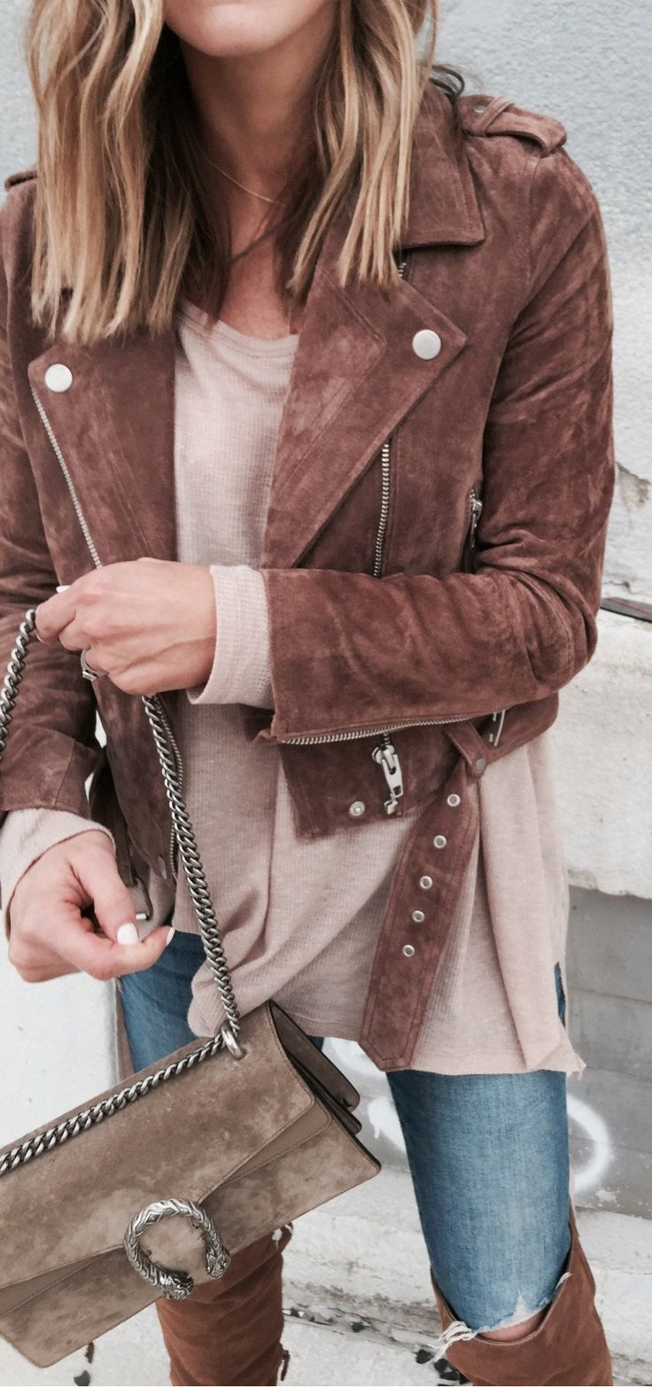 #spring #fashion /  Brown Suede Jacket / Brown Knit / Ripped Skinny Jeans / Brown Suede OTK Boots