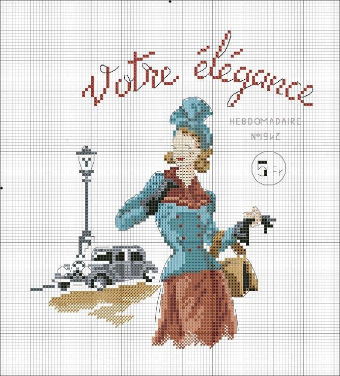 point de croix vintage parisian woman - cross stitch parisienne vintage