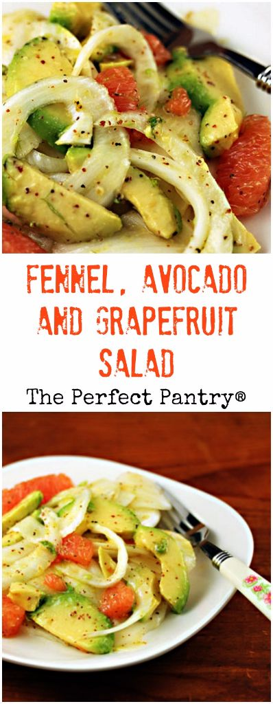 Bring a bit of tang to your holiday table, with this fennel, avocado and grapefruit salad with an unusual pomegranate-orange dressing. #vegan #glutenfree