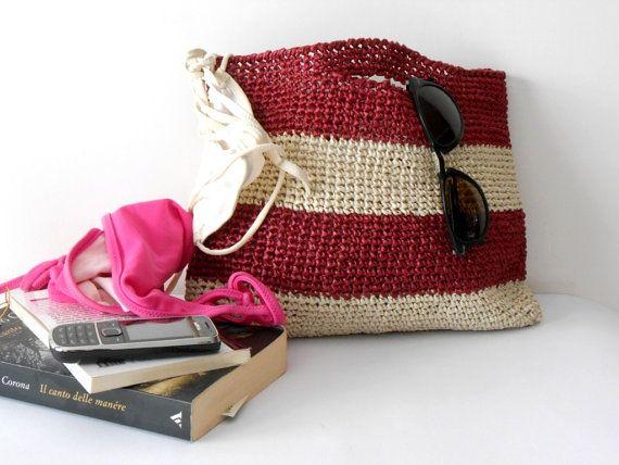 Bast Tasche Handtasche im Stil der 1960er Jahren von cosediisa