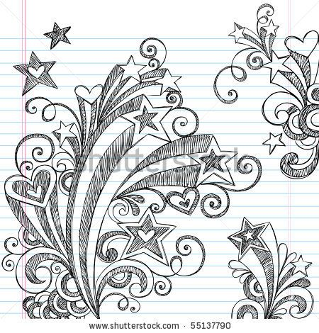 notebook doodles | Starburst Back to School Sketchy Notebook Doodles Illustration by