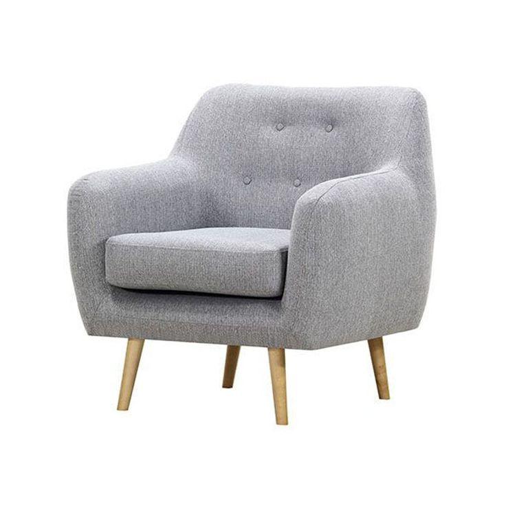 HUPPA styl skandynawski fotel inspirowany Scandi tkaninaszara