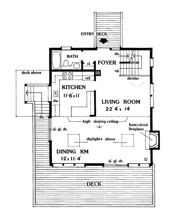 First Floor Plan of Cabin   Vacation   House Plan 90633