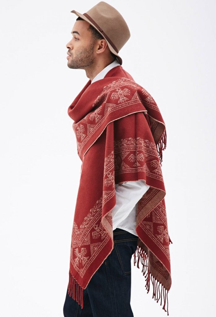 Southwestern-Patterned-Poncho, Forever 21, Men's Spring Summer Fashion.