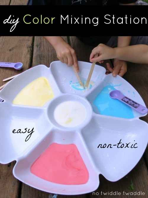 DIY a color-mixing station using a dollar-store vegetable tray.