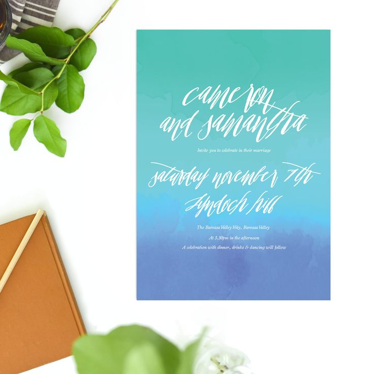 These Turquoise Beach Wedding Invitations feature a gorgeous design with splashes of blue, aqua and turquoise watercolours.