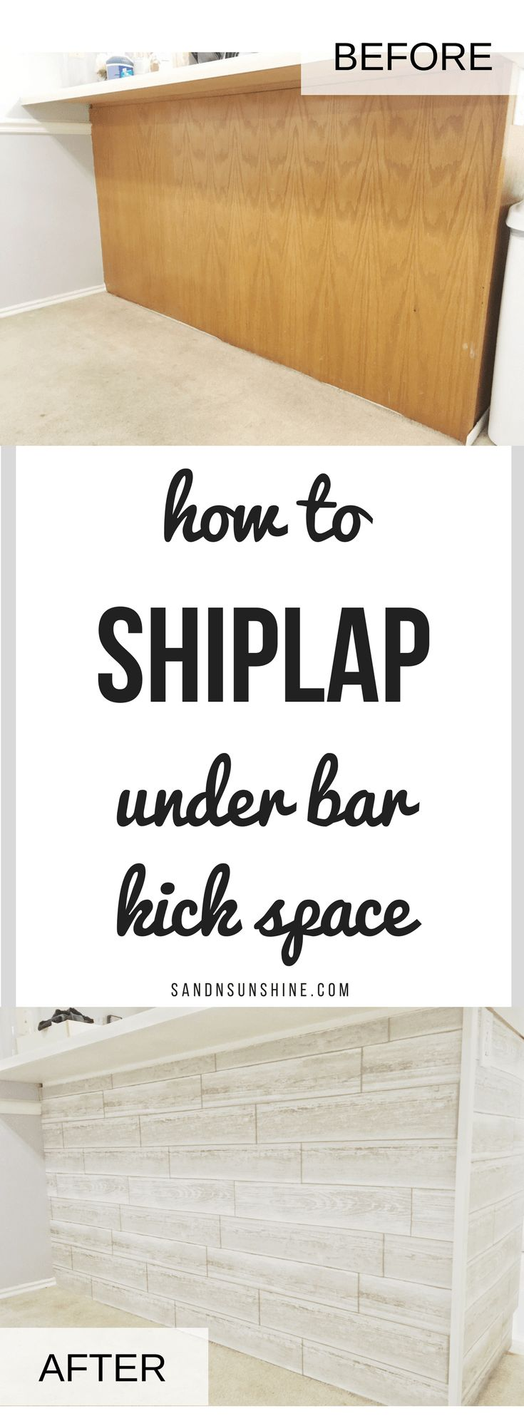 DIY: Shiplap Under Bar Kick Space (for under $25!)