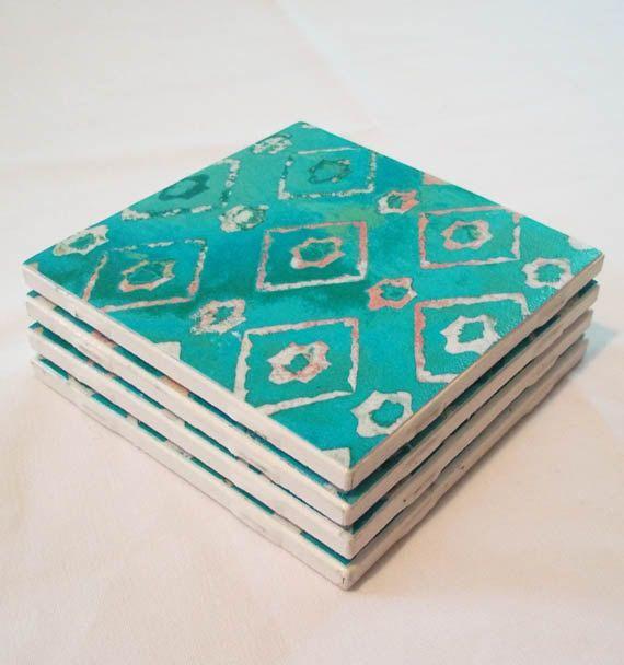 TILE COASTERS, Geometric Diamond Pattern, Indian Blanket