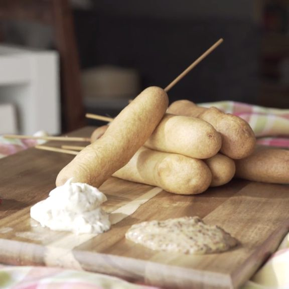 How to make homemade Carnival Corn Dogs with Julie and Jen.