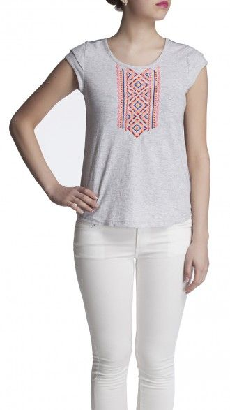 sbuys - Aztec Embroidered Top #sbuys #spring #embroidery #aztec #tee Shop now at www.sbuys.in