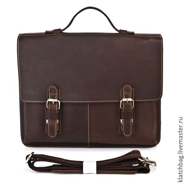 Купить Кожаный мужской коричневый классический портфель - коричневый, кожаный портфель, портфель из кожи
