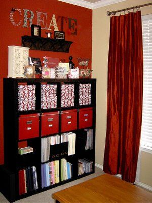 Craft Room organization: Red Wall, Crafts Rooms, Scrapbook Rooms, Colors Schemes, Crafts Storage, Rooms Ideas, Storage Ideas, Rooms Organizations, Craft Rooms
