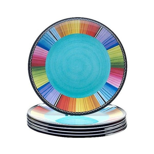 Certified International Serape Melamine Dinner Plates Set of (£24) ❤ liked on Polyvore featuring home, kitchen & dining, dinnerware, red, red dinnerware, colored dinnerware, certified international, fiesta dinnerware and southwestern dinnerware