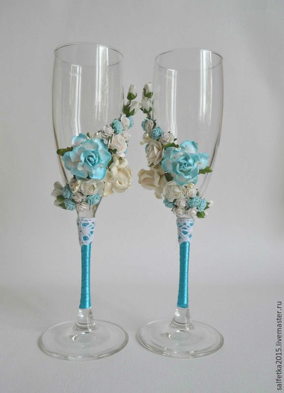 Купить Свадебные бокалы с цветами,бирюзовая свадьба - бирюзовый, свадьба 2015, свадьба в бирюзовом цвете