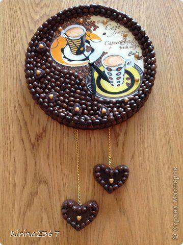 Поделка изделие Валентинов день Декупаж Часы кофейные ТЕТ-А-ТЕТ Гипс Кофе Салфетки фото 2