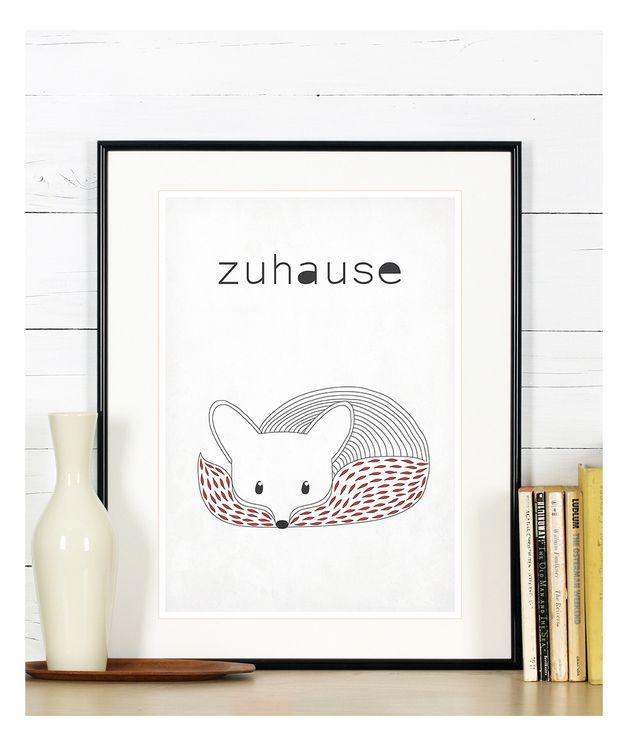 Wohnaccessoires - Retro Poster, Fuchs, skandinavischen Stil, zuhause - ein Designerstück von emugallery bei DaWanda