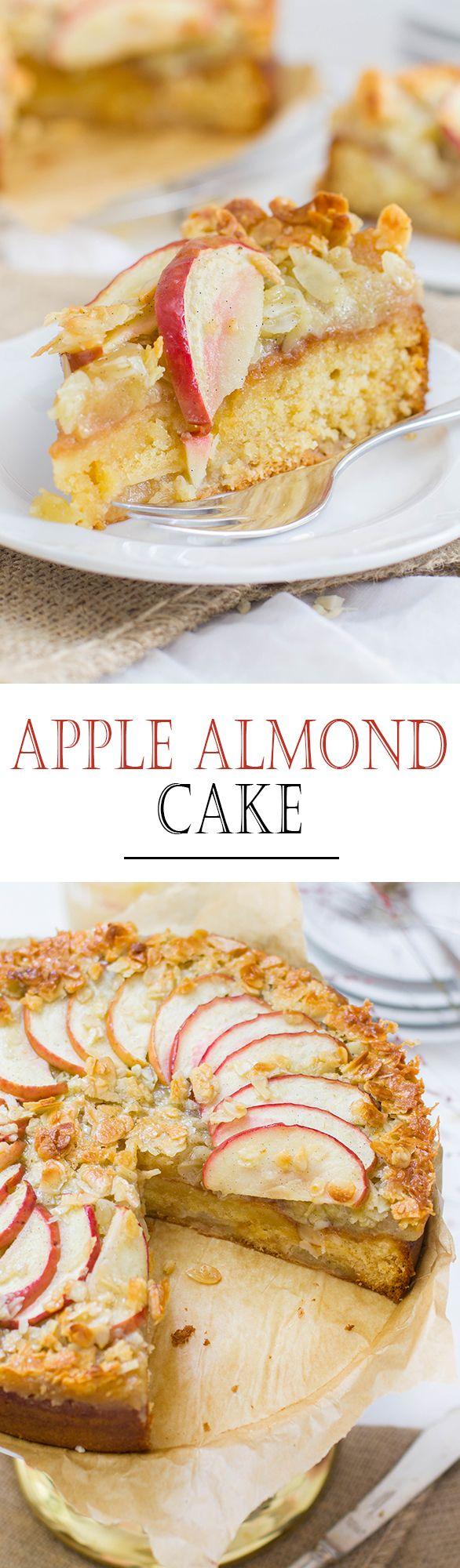 Juicy Apple Almond Cake with Caramel Crust and Apple Sauce | Saftiger Apfel Mandel Kuchen mit Karamellkruste und Apfelkompott