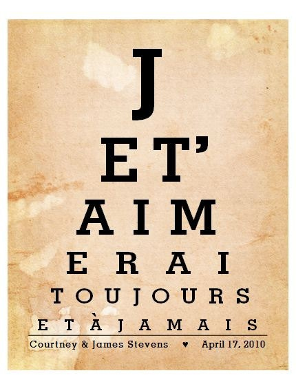 Personalized French quote art, I Love You Forever and Ever - Je T Aimerai - Great Wife Gift for First Year Paper Anniversary and for Paris engagement and honeymoon memories, $20.00, via Etsy.