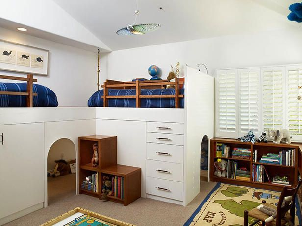 Custom loft bed for dual-purpose bedroom and playroom. This is so cute! http://www.hgtv.com/kids-rooms/toddler-to-teen-15-clutter-busting-kids-rooms/pictures/page-10.html?soc=pinterest