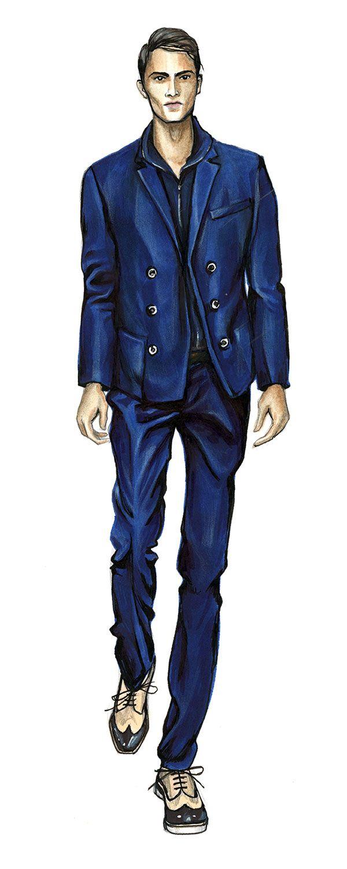 Elegant Man in Blue Suit