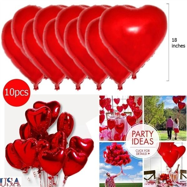 Red Heart Foil Helium Balloons Valentines Day Wedding Engagement Decorations