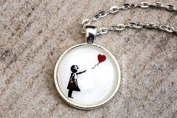 FREE SHIPPING - Banksy Glass Pendant Necklace - Handmade Jewellery - Jewelry - Unique Gift - Girl & Balloon
