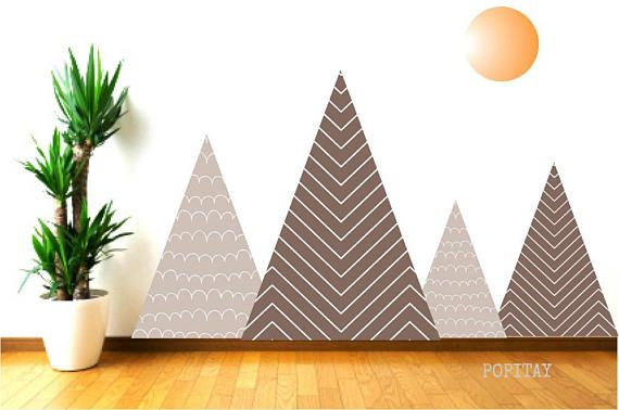 Brown Mountain Mural for Boys Room Fabric Mountain decals Mountain Wall Decals Playroom Decals Kids Wall Stickers Kids Wall Decor