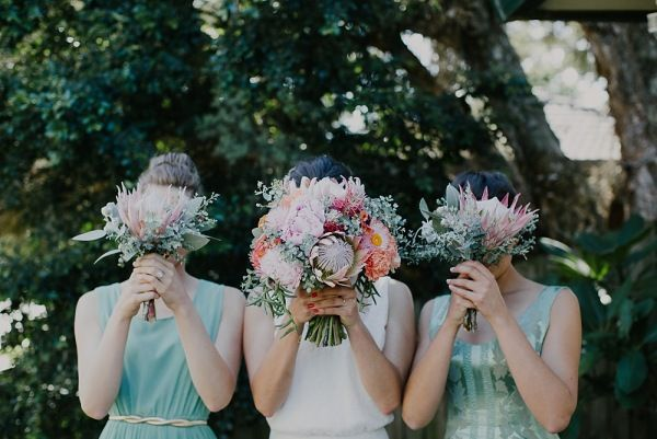 sage coral and orange. native flowers. mint/sage bridesmaids dresses. rustic wedding