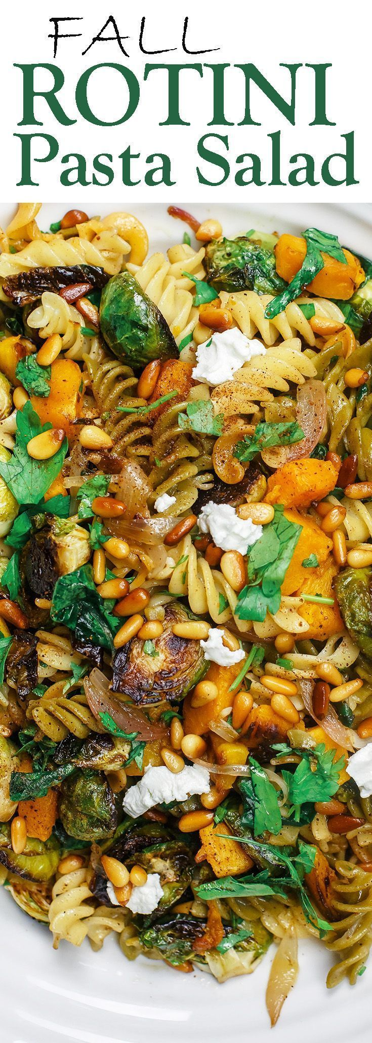 Fall Rotini Pasta Salad | The Mediterranean Dish. A simple pasta salad with charred butternut squash, burssels sprouts, spinach, and fresh parsley. A simple browned butter and olive oil sauce with shallots rounds everything together. A must-try fall salad or side holiday recipe for Thanksgiving!