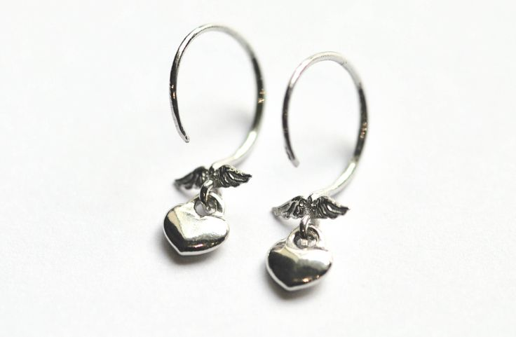 Wings earrings, angel wings earrings, heart earrings, sterling silver earrings, round ear wires earrings, cute girls earrings, earrings gift by justynasshop on Etsy https://www.etsy.com/uk/listing/592788235/wings-earrings-angel-wings-earrings