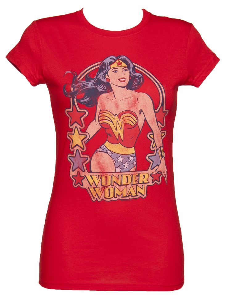 Ladies Red Classic Wonder Woman Stars T-Shirt from Junk Food xoxo
