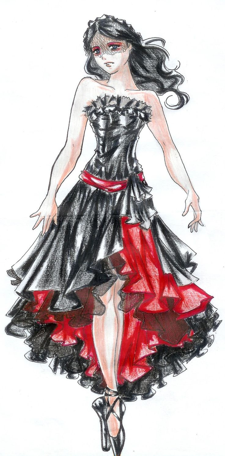 "fashion sketch; this strangely look like the girl from the My Chemical Romance ""Helena"" video"