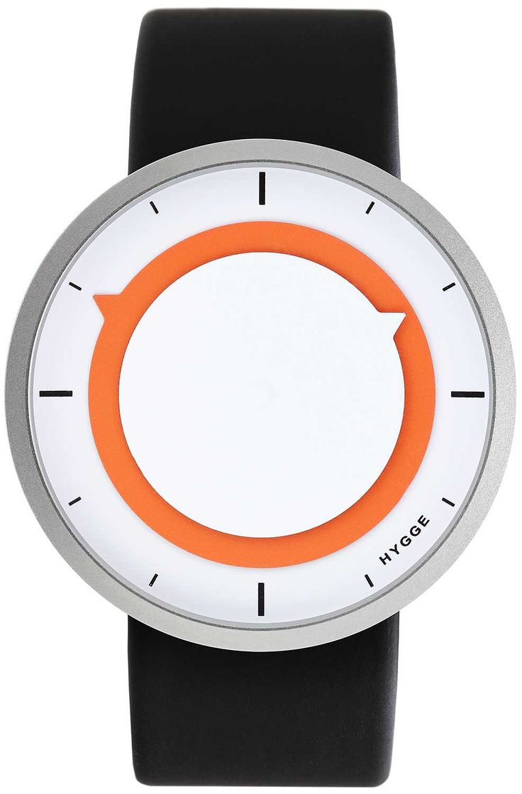 HYGGE 3012 Discus White Orange HYGGE is a unique watch brand directly influenced by Scandinavian design and based on Japanese quality and technical high-standards. Its minimalist aesthetic, attention to detail, and commitment to craftsmanship are a hallmark of both cultures.  In the Danish culture, Hygge is a fundamental aspect expressing a lifestyle where cozy, warm and friendly feelings are cherished.