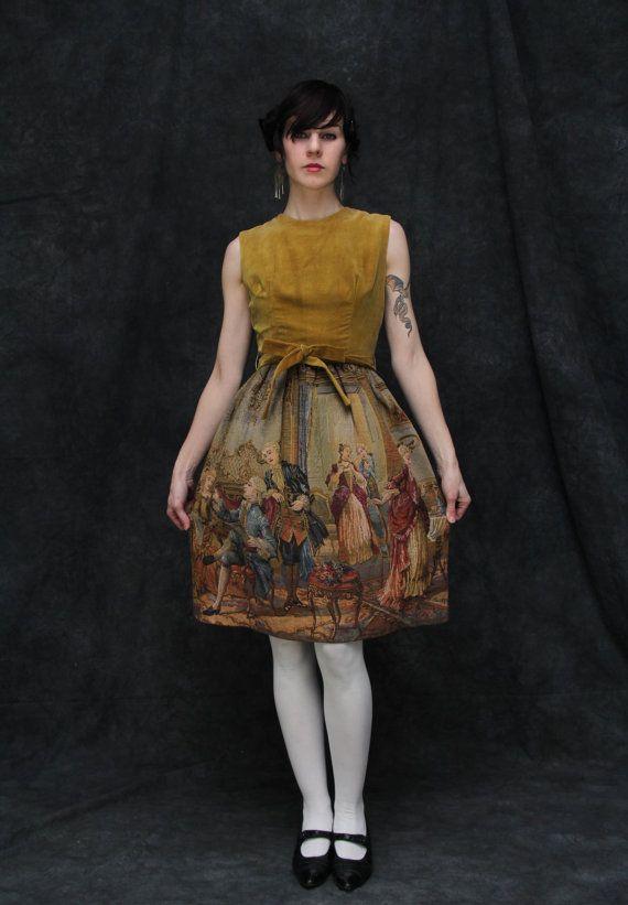 Vintage Velvet and Tapestry Gown . Saffron . Renaissance Painting Scene.