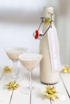 Geschenke aus der Küche: weihnachtlicher Zimt-Vanille-Likör & Free Printable Labels